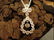K18WGダイヤモンドペンダントネックレス