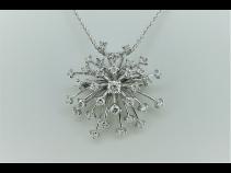 K18WGダイヤモンド(0.77ct)ペンダントブロ-チネックレス