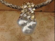 K18南洋バロック真珠 カラーダイヤモンドペンダント・ネックレス