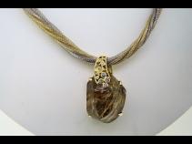 K18ルチルクオ-ツ(57.04ct)ダイヤモンド(0.02ct)ペンダントネックレス