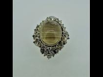 PT900K18ルチルキャッツアイクォ-ツ(14.57ct)ダイヤモンド(3.14)リング
