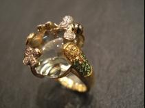 K18水晶ダイヤモンド・グリーンガーネット・サファイヤリング