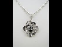 K18WGブラックダイヤ(1.38ct)ダイヤ(0.70ct)ペンダントネックレス