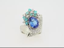 Ptタンザナイト・トルマリン・ダイヤモンドリング