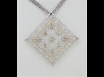 K18ダンシングダイヤモンド(2.12ct、1.16ct)ペンダントブロ-チ
