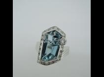 Ptアクアマリンダイヤモンドリング