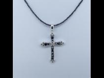 ブラックダイヤモンド クロスペンダントネックレス