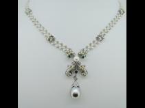 PT950南洋真珠・ダイヤモンド(031ct)・エメラルド(0.17ct)ペンダントネックレス