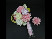 つまみ細工フラワ-コ-ム・ミニ2点セット ピンク