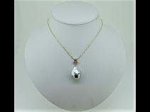 K18南洋真珠・アコヤケシ珠・ダイヤモンド(0.07ct)ペンダントネックレス