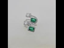 K18WGエメラルイド(2.01ct)ダイヤモンド(0.91ct E VSI 脇石1.261ct)リング