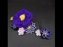 ちりめんつまみ牡丹コ-ム・ミニ2点セット 紫