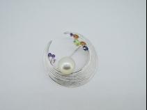 Sil 南洋白蝶真珠(11.4mm)・サファイア・クォーツブローチ