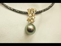 K18WG 南洋タヒチ真珠 ダイヤモンドペンダント