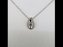 Ptダイヤモンド{0.349ct G SI1 EX)0.13ctペンダントネックレス