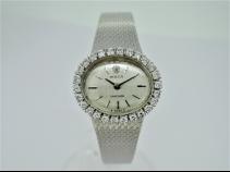 ロレックスWGプレシジョンベゼルダイヤシルバ-1文字盤手巻き時計(アンティ-ク)