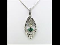 PTエメラルド(0.35ct)ダイヤモンド(1.79ct)ペンダントネックレス