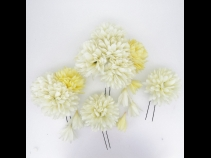 フラワー Uピン4本セット(白×黄)