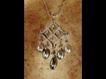 K18WG南洋ケシ(天然)真珠 ダイヤモンド・ペンダントネックレス