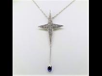 K18WGサファイア(1.89ct)ダイヤモンド(0.80ct)ペンダントネックレス
