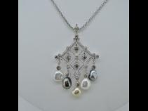 K18WG南洋天然真珠ダイヤモンドペンダントネックレス