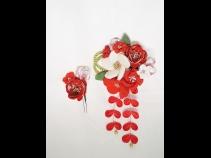 髪飾り 成人式 和装 振袖 衣装 前差し 二本セット Uピン コーム 赤 白 花 ラメ つまみ細工 キラキラ さがり