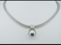 K18WG南洋タヒチ真珠ダイヤモンド(0.22ct)ペンダントネックレス
