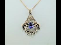K18タンザナイト(1.36ct)ダイヤモンド(0.35ct)ペンダントネックレス
