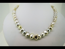 K14WG天然ケシ真珠ネックレス