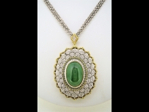 K18ヒスイ(11.3ct)ダイヤモンド(0.47ct)ブロ-チペンダント