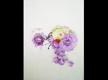 つまみ細工・パールさがり付 ラメフラワーコーム & ラメフラワーUピン 2点セット (紫)