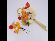 フラワ-コ-ム&ミニフラワ-2点セット オレンジ