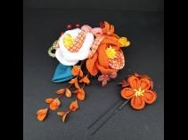 ちりめんつまみコ-ム・ミニ2点セット オレンジ/白