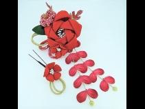 ふっくらちりめん花飾りコ-ム2点セット 赤
