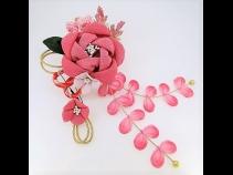 ふっくらちりめん花飾りコ-ム2点セットピンク