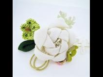 ふっくらちりめん花飾りコ-ム2点セット 白