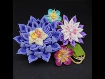 八重咲ちりめんつまみコ-ム・ミニ2点セット パープル