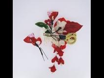 フラワ-コ-ム&ミニフラワ-2点セット 赤/赤