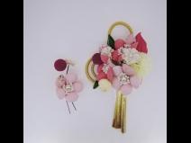 フラワ-コ-ム&ミニフラワ-2点セット ピンク