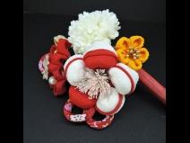 つまみ細工フラワ-コ-ム・ミニ2点セット 赤/白