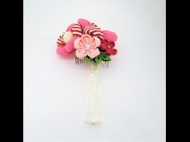 ちりめん梅つまみ細工フラワ-コ-ム2点セット ピンク