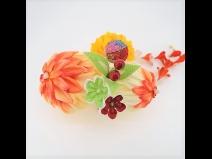 成人式髪飾り花てまりふじ下がりコ-ム オレンジ