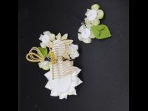 八重咲ちりめんつまみコ-ム・ミニ2点セット 白