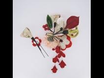 フラワ-コ-ム&ミニフラワ-2点セット 赤/白
