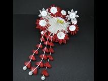 高級菊つまみ細工コ-ムさがり付 赤/白