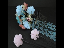 舞子かんざし(コーム)・ミニ3点セット 水色/ピンク