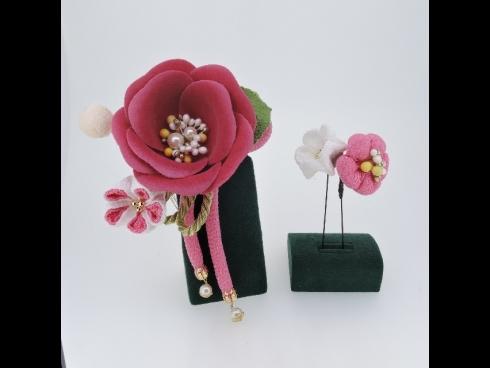 つまみ細工付フラワー コーム&Uピン2点セット(ピンク)