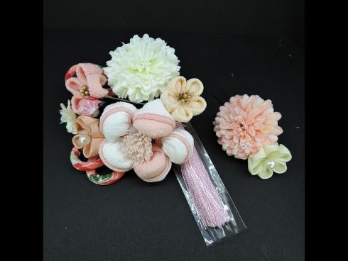 つまみ細工フラワ-コ-ム・ミニ2点セット 白/薄ピンク