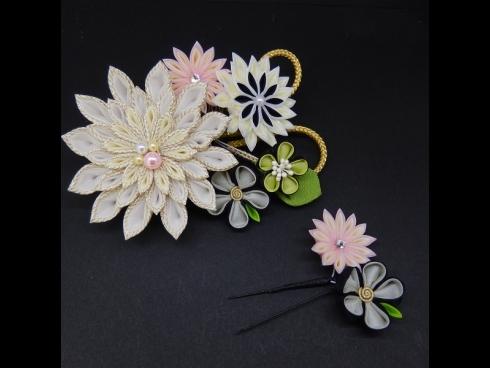 つまみ剣菊コ-ム・ミニ2点セット 白