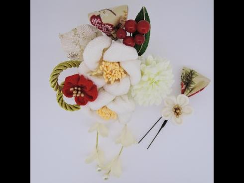 フラワ-コ-ム&ミニフラワ-2点セット 白/白